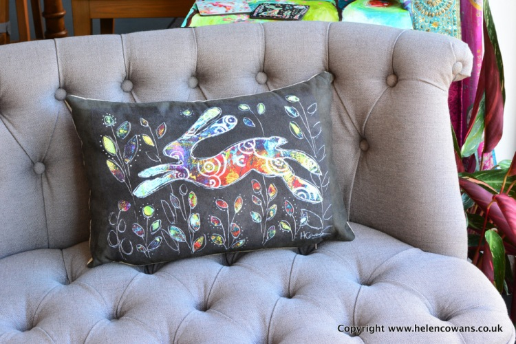 Black Bounding hare cushion commercial