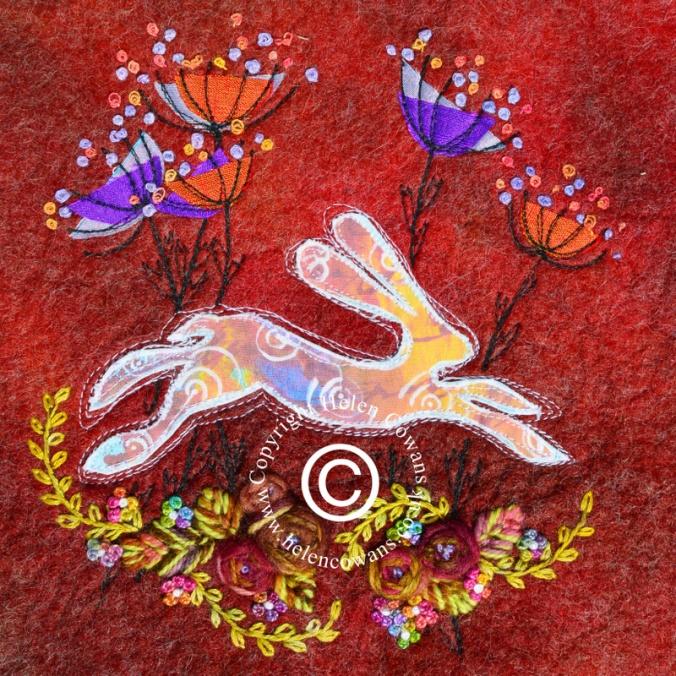 Purple Cowparsley running hare Copyright-001